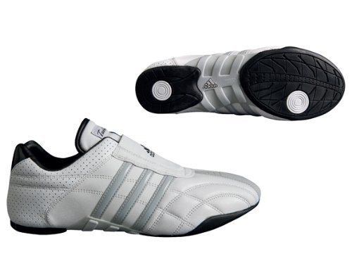 adidas Taekwondo Adilux Shoes (8.5, White W/Gray Stripe)