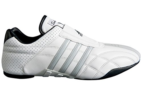 adidas Taekwondo Adilux Shoes (8.5, White W/Gray Stripe)